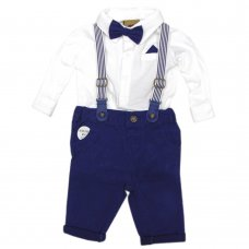 R18412: Baby Boys Bodysuit Top With Bow Tie & Chino Pant With Braces Outfit (0-18 Months)