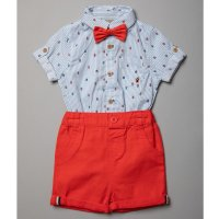 R18415: Baby Boys Bodysuit Shirt With Bow Tie & Chino Short Outfit (0-18 Months)