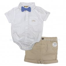 R18416: Baby Boys Bodysuit Shirt With Bow Tie & Chino Short Outfit (0-18 Months)