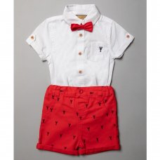 R18417: Baby Boys Bodysuit Shirt With Bow Tie & Chino Short Outfit (0-18 Months)