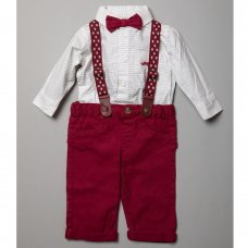 R18425: Baby Boys Bodysuit Shirt With Bow Tie & Chino Pant With Braces Outfit (0-18 Months)