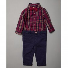 R18426: Baby Boys Bodysuit Shirt With Bow Tie & Chino Pant  Outfit (0-18 Months)