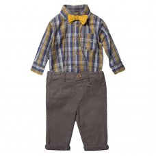 R18427: Baby Boys Bodysuit Shirt With Bow Tie & Chino Pant  Outfit (0-18 Months)