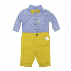 R18429: Baby Boys Bodysuit Shirt With Bow Tie & Chino Pant  Outfit (0-18 Months)