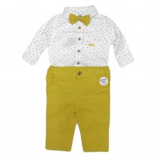 R18431: Baby Boys Bodysuit Shirt With Bow Tie & Chino Pant  Outfit (0-18 Months)