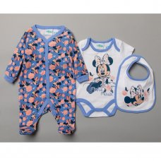 R18455: Baby Minnie Mouse 3 Piece All In One, Bib & Hat Set (0-9 Months)