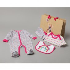 R18472: Baby Girls Rainbows 6 Piece Net Bag Gift Set (NB-6 Months)