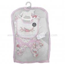 R18480: Baby Girls Floral 6 Piece Net Bag Gift Set (NB-6 Months)