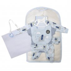 R18487: Baby Boys Elephant 6 Piece Net Bag Gift Set (NB-6 Months)