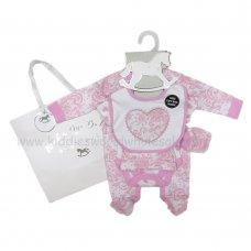 R18490: Baby Girls Heart 6 Piece Net Bag Gift Set (NB-6 Months)