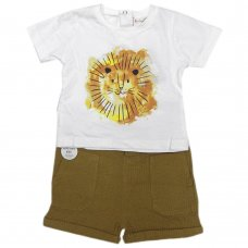 R18504:  Baby Boys Lion Print T-Shirt & Woven Short Outfit (6-24 Months)