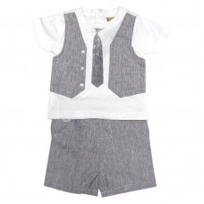 R18510: Baby Boys Mock Waistcoat T-Shirt & Short  Outfit  (6-24 Months)