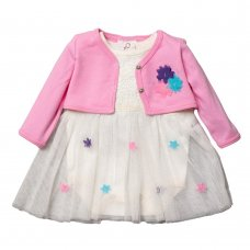 R18511: Baby Girls Tutu Bodysuit Dress & Bolero Set (0-9 Months)