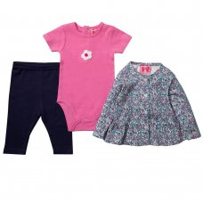 R18512: Baby Girls Floral Print Jacket, Bodysuit & Legging Outfit (0-12 Months)