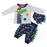 R18513: Baby Boys Crocodile Top, Jog Pant & Bib Outfit (0-12 Months)