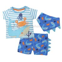 R18514: Baby Boys Under The Sea T-Shirt, Short & Bib Outfit (0-12 Months)