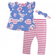 R18515: Baby Girls Floral T-Shirt, Legging & Headband Outfit (3-24 Months)