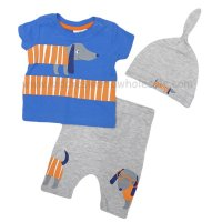 R18518: Baby Boys Dog Print T-Shirt, Trouser & Hat Outfit (0-12 Months)