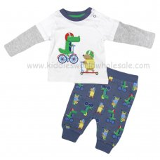 R18522: Baby Boys Racing Animals Top & Jog Pant Outfit (0-12 Months)