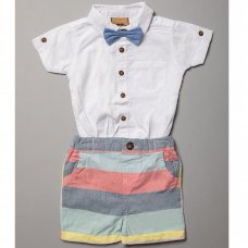 R18524: Baby Boys Bodysuit Shirt With Bow Tie & Woven  Short Outfit (0-18 Months)