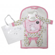 R18530: Baby Girls Floral Bunny 6 Piece Net Bag Gift Set (NB-6 Months)