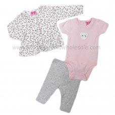 R18538: Baby Girls Leopard Print Jacket, Bodysuit & Legging Outfit (0-12 Months)