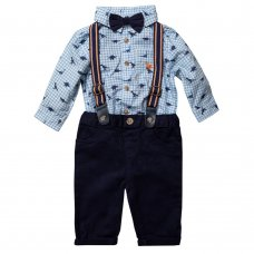 R18548: Baby Boys Bodysuit Shirt With Bow Tie & Chino Pant With Braces Outfit (0-18 Months)