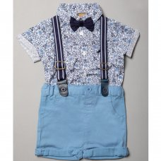 R18554: Baby Boys Bodysuit Shirt With Bow Tie & Chino Short With Braces Outfit (0-18 Months)
