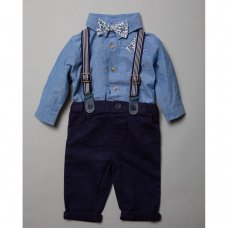 R18555: Baby Boys Bodysuit Shirt With Bow Tie & Chino Pant With Braces Outfit (0-18 Months)