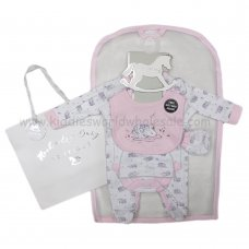 R18570: Baby Girls Swan 6 Piece Net Bag Gift Set (NB-6 Months)