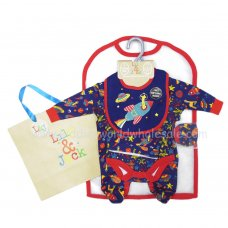 R18572: Baby Boys Space 6 Piece Mesh Bag Gift Set (NB-6 Months)