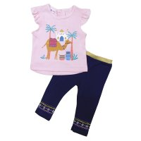 R18573: Baby Girls Camel T-Shirt & Legging Outfit (6-24 Months)