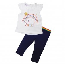 R18577: Baby Girls Rainbow T-Shirt & Legging Outfit (12-24 Months)