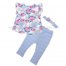 R18579: Baby Girls Floral Tunic, Legging & Headband Outfit (3-24 Months)