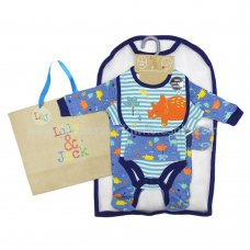 R18597: Baby Boys Dinosaur 6 Piece Net Bag Gift Set (NB-6 Months)