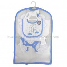 R18603: Baby Boys Bear 6 Piece Net Bag Gift Set (NB-6 Months)