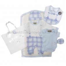 R18612: Baby Boys Check Bow Tie 6 Piece Net Bag Gift Set (NB-6 Months)