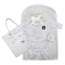 R18616: Baby Unisex Elephant 6 Piece Net Bag Gift Set (NB-6 Months)