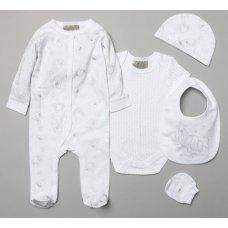 R18616: Baby Unisex Elephant 6 Piece Net Bag Gift Set (NB-6 Months)