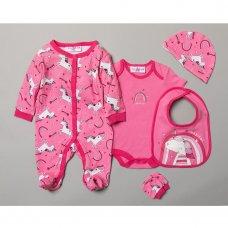 R18628: Baby Girls Unicorn 6 Piece Net Bag Gift Set (NB-6 Months)