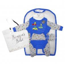 R18639: Baby Boys Animal Race Cars 6 Piece Net Bag Gift Set (NB-6 Months)