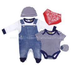 R18642: Baby Boys Denim Style 5 Piece Gift Set (NB-6 Months)