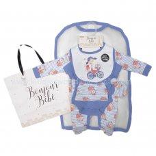 R18644: Baby Girls Floral Bike 6 Piece Net Bag Gift Set (NB-6 Months)