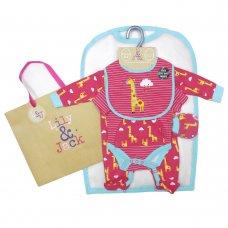 R18645: Baby Girls Giraffe 6 Piece Mesh Bag Gift Set (NB-6 Months)