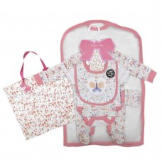 R18646: Baby Girls Butterfly Floral 6 Piece Net Bag Gift Set (NB-6 Months)