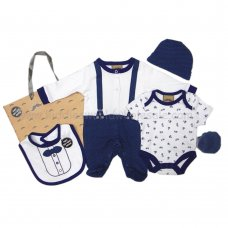 R18726: Baby Boys Bow Tie  6 Piece Net Bag Gift Set (NB-6 Months)