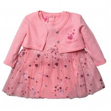 R18728: Baby Girls Tutu Bodysuit Dress & Bolero Set (0-9 Months)