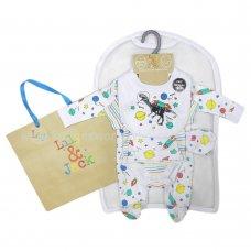 R18734: Baby White Dinosaurs 6 Piece Net Bag Gift Set (NB-6 Months)