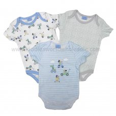 R18746: Baby Boys Racing Animals 3 Pack Bodysuits (0-12 Months)