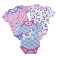 R18753: Baby Girls Unicorn 3 Pack Bodysuits (0-12 Months)